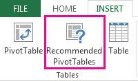 """""""PivotTables المستحسنة"""" ضمن علامة التبويب """"إدراج"""" في Excel"""