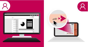 شاشة مقسمة تعرض جهاز كمبيوتر محمول يعرض عرضاً تقديمياً على الجانب الأيمن ويتوفر العرض التقديمي نفسه على موقع Microsoft Stream على الجانب الأيسر