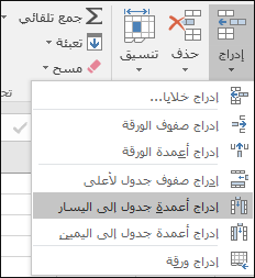 """ل# اضافه عمود جدول من علامه التبويب الصفحه الرئيسيه، انقر فوق السهم ل# ادراج > """"ادراج اعمده جدول"""" الي اليسار."""