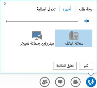 لقطة شاشة لخيارات الصوت