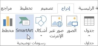 """رسومات SmartArt في علامة التبويب """"إدراج"""""""
