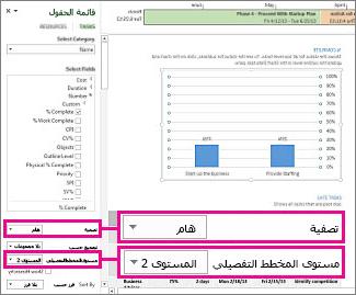 """تقرير نظرة عامة حول المشروع مع فتح الجزء """"بيانات المخطط"""""""