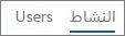 """لقطة شاشة لطريقة عرض """"النشاط"""" في تقرير نشاط Office 365 Yammer"""