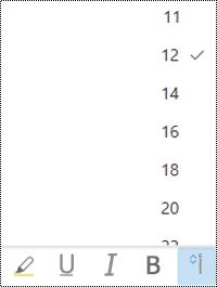 """القائمة """"حجم الخط"""" مفتوحة في Outlook علي الويب."""