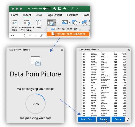 """لقطة شاشة للزر """"بيانات من الصورة""""، والجزء الجانبي الذي يعرض تقدم تحليل الصورة ثم معاينة البيانات لإدراجها."""