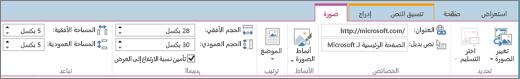 لقطة شاشة تظهر مقطع من شريط SharePoint Online مع تحديد علامة التبويب «الصورة» والتحديدات المتوفرة في مجموعات «التحديد» و«الخصائص» و«الأنماط» و«الترتيب» و«الحجم» و«التباعد».