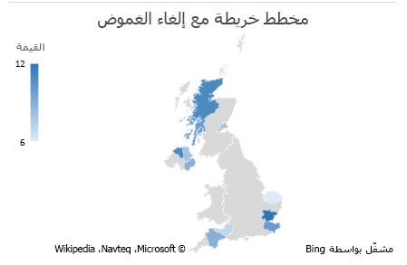 مخطط البيانات غير الغامضة في مخطط الخريطة في Excel
