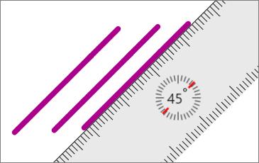 عرض المسطرة في صفحة OneNote مع ثلاثة خطوط متوازية تم رسمها.