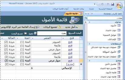 استخدام قالب قاعدة بيانات الأصول