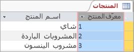 شاشه جزء من جدول المنتجات
