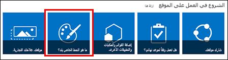 موقع تم إنشاؤه حديثاً في SharePoint online، مع عرض لوحات قابلة للنقر فوقها للتخصيص الإضافي للموقع