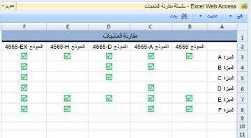 جزء ويب الخاص بـ Excel Web Access