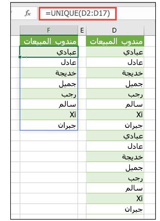 يُظهر العمودان أسماء مندوبي المبيعات. يُظهر العمود الثاني القيم الفريدة فقط.