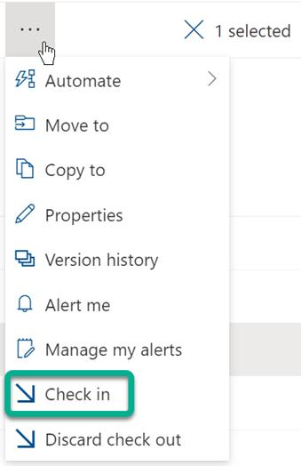 """يوجد الخيار """"تسجيل الدخول"""" في القائمة ذات النقاط الثلاث الموجودة أعلى قائمة الملفات في SharePoint الملفات."""