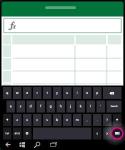 قصاصة فنية لإظهار كيفية إخفاء لوحة المفاتيح على الشاشة