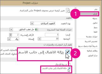 """""""خيارات Project""""، علامة التبويب """"عرض"""""""