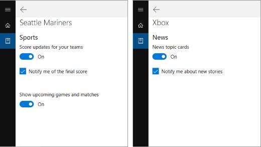 إعدادات الاعلام في دفتر ملاحظات Cortana