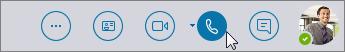 قائمة Skype for Business السريعة مع أيقونة الاتصال في وضع نشط.
