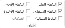 """المجموعة """"إظهار"""" على علامة التبويب """"تصميم"""" من أدوات خط المؤشر"""