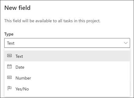 """لقطة شاشة من مربع الحوار """"مشروع حقل جديد"""" تعرض """"أنواع النص"""" و""""التاريخ"""" و""""الرقم"""" و""""نعم/لا"""""""
