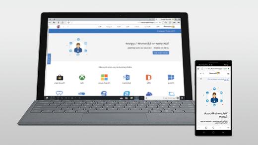 صفحة ويب مفتوحة على Android و Surface Pro