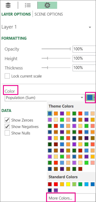 """القائمة المنسدلة للألوان في علامة التبويب """"تعيين خيارات الطبقة"""""""