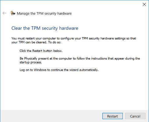 قم بإعادة تشغيل بعد مسح TPM