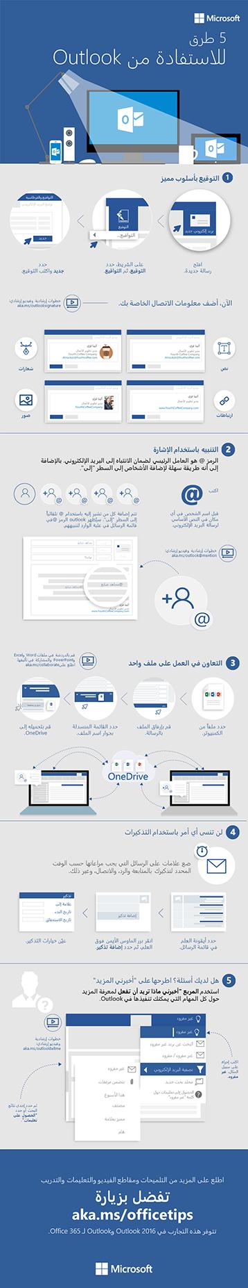 5 خطوات لبريد إلكتروني أفضل في Outlook 2016