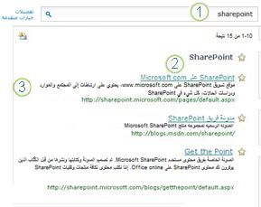 """تظهر ثلاثة من """"أفضل الخيارات"""" لـ SharePoint Server في أعلى صفحة نتائج البحث."""