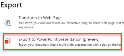 تصدير إلى PowerPoint تقديمي