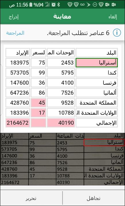 يوفر لك Excel استيراد البيانات من الصوره امكانيه تصحيح اي مشاكل العثور عليه عند تحويل البيانات.
