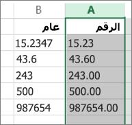 """نموذج لعرض كيفية ظهور الأرقام عند تطبيق تنسيقات مختلفة مثل التنسيقين """"رقم"""" و""""عام""""."""