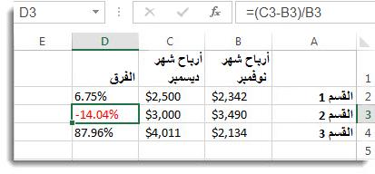 بيانات Excel مع نسبة مئوية سالبة منسقة باللون الأحمر في الخلية D3