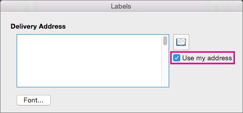 ل# استخدام العنوان الذي قمت ب# تكوينها مسبقا في Word، حدد استخدام عنوان بريدي.
