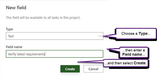 مربع حوار حقل جديد في Project Power App