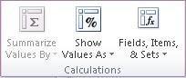 """""""أدوات PivotTable"""": المجموعة """"العمليات الحسابية"""" ضمن علامة التبويب """"خيارات"""""""