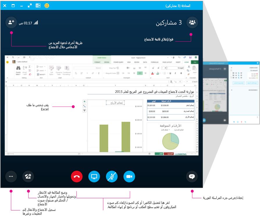 نافذة اجتماعات Skype for Business وجزء الاجتماع، كرسم تخطيطي