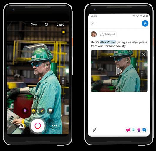 إنشاء مقاطع فيديو قصيرة ل Yammer علي النظام الأساسي للاجهزه المحمولة في Android