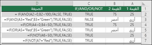أمثلة على استخدام الدالة IF مع الدالات AND وOR وNOT لتقييم القيم الرقمية والنص