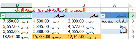 تطبيق عامل التصفية المخصص لقيم الأرقام