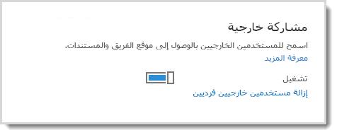 صورة تعرض عنصر التحكم تشغيل/إيقاف التشغيل للسماح للمستخدمين الخارجيين بالوصول إلى موقع الفريق والمستندات.