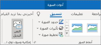 """الزر """"نص البديل"""" على شريط Outlook for Windows."""
