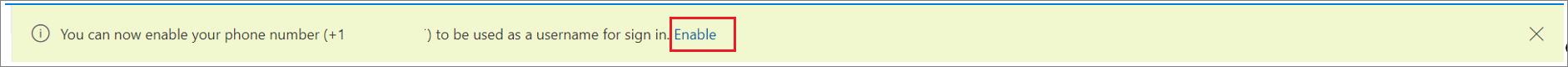 """لقطة شاشة تعرض الشعار لتمكين تسجيل الدخول عبر SMS لرقم هاتف مع تحديد الإجراء """"تمكين""""."""