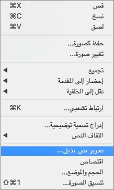 خيار النص البديل في قائمة السياق في Word