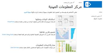 """الصفحة الرئيسية لموقع """"مركز المعلومات المهنية"""" في SharePoint Online"""