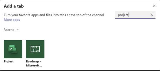 """لقطه شاشه تعرض مربع الحوار """"أضافه علامة تبويب"""" ونتائج البحث الخاصة بمشروع المصطلح"""