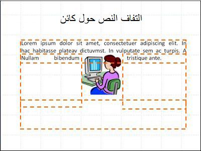 شريحة مع إدراج عنصر، ومربعات النص موضّحة و نص جزئي.