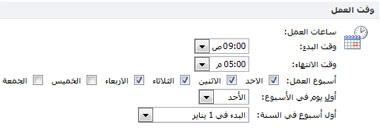 """مقطع وقت العمل في مربع الحوار """"خيارات Outlook"""""""
