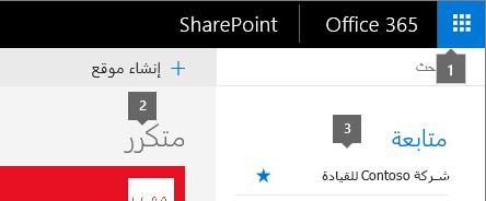 SharePoint Online الزاويه العلويه اليمني من الشاشه الرئيسيه.
