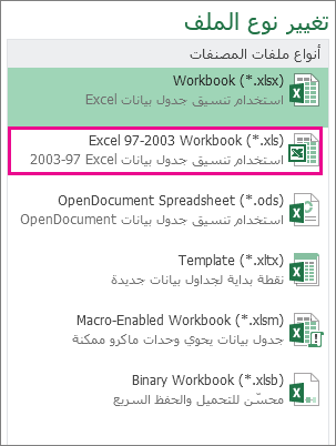 تنسيق Excel 97-2003 Workbook